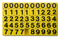 Numbers. Yellow numbers for children learning game on white Royalty Free Stock Images