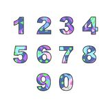 Numbers with abstract fill. Set of numbers with unique bright fill. Great for postcard, textiles, advertising, invitation for a holiday and other design stock illustration