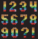 Numbers Alphabet from the multicolored mosaic Royalty Free Stock Image