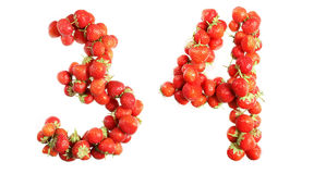Numbers alphabet of red ripe strawberries. Royalty Free Stock Images