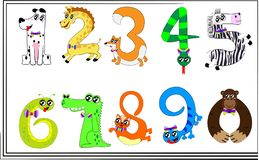 The numbers of animals up to ten royalty free illustration
