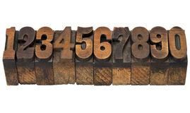 Numbers in antique letterpress wood type Stock Photo