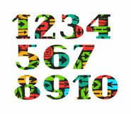 Numbers, arrows, colored, flat, vector. Vector numerals with serif. Colored arrows on black field Stock Photos