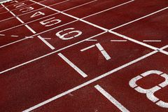 Numbers on an athletic track Stock Images