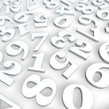 Numbers background. Disorder of numbers on white background - 3d illustration Royalty Free Stock Photo
