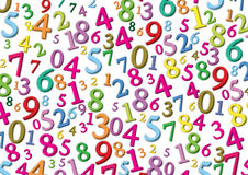 Numbers background. Colour numbers on a white background Royalty Free Stock Photography