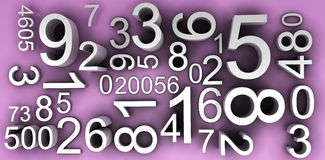 Numbers background 3d. Many numbers, codes, digits - mathematical background Stock Photos