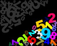 Numbers background. Abstract Numbers background in colors Stock Photos