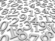 Numbers background. Black and white numbers background. 3d rendered illustration Royalty Free Stock Photo