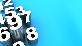 Numbers background. 3d illustration of blue background with white numbers Stock Photos