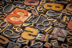 Numbers background in wood type Royalty Free Stock Images