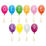 Numbers balloons. Colorful cartoon numbers balloons isolated on white background. Eps file available Royalty Free Stock Photography