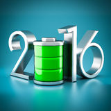 Numbers 2016 and battery Stock Image