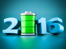 Numbers 2016 and battery Royalty Free Stock Photo