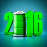 Numbers 2016 and battery Stock Images