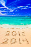 Numbers 2014 on beach. Concept holiday background Royalty Free Stock Photo