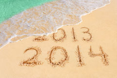 Numbers 2014 on beach Royalty Free Stock Images