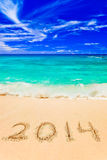 Numbers 2014 on beach Royalty Free Stock Photos