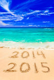 Numbers 2015 on beach Royalty Free Stock Photo