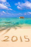 Numbers 2015 on beach. Concept holiday background Stock Photo