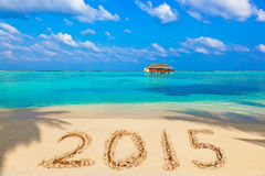 Numbers 2015 on beach Royalty Free Stock Image