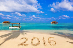 Numbers 2016 on beach Royalty Free Stock Photos