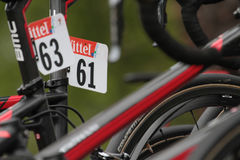 Numbers on bikes. PAU, FRANCE, July 15, 2015 : Numbers on the runners' bikes in the Village Depart of the Tour de France cyclist race Royalty Free Stock Photos