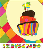 Numbers for Birthday Cake. Greeting card stock illustration