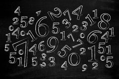 Numbers on blackboard. Symbolizing numbers Stock Images
