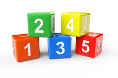 Numbers blocks. Numbers colorful blocks on a white background Royalty Free Stock Images