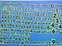 Numbers on blue background stock images