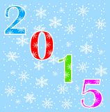 Numbers 2015 on a blue background with snowflakes. Vector illustration Stock Photos