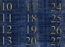Numbers on blue canvas. Abstract illustration with numbers on blue canvas texture Royalty Free Stock Image