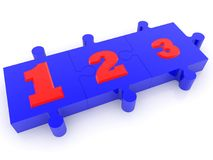 Numbers on blue puzzle pieces. In background stock illustration