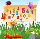 Numbers on board and many insects. Illustration Stock Photo