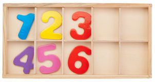 Numbers in a box. Isolated. Stock Photos