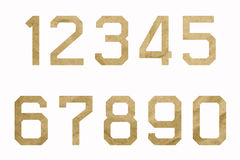 Numbers of brown paper (0-9). Numbers of brown paper on white background (0-9 Royalty Free Stock Photography