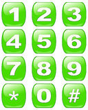 Numbers buttons. A set of green numbers in phone keypad configuration Stock Photography