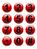 Numbers Buttons. A set of glossy red numbers buttons from 0-9 including the hash key and asterisk. Available in vector EPS format Royalty Free Stock Photography