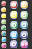 Numbers buttons. Vector set of buttons with numbers. Different colors Royalty Free Stock Image