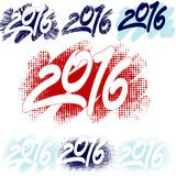 Numbers 2016. For calendar. The effect of drawing by hand on the glass Royalty Free Stock Image