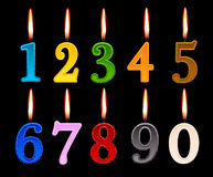 Numbers candles for happy birthday Stock Photos