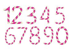 Numbers candy. Christmas alphabet cane. Isolated on white background.Vector vector illustration