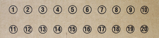 Numbers on cardboard. Cardboard with numbers one to twenty Royalty Free Stock Photos