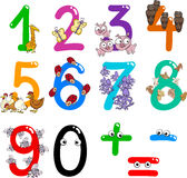 Numbers with cartoon animals. Cartoon illustration of numbers from zero to nine with animals Stock Image