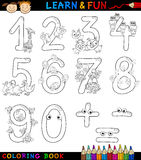 Numbers with cartoon animals for coloring. Cartoon Coloring Book or Page Illustration of Numbers Signs from Zero to Nine with Animals Characters for Children Stock Photo