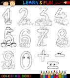 Numbers with cartoon animals for coloring. Cartoon Coloring Book or Page Illustration of Numbers Signs from Zero to Nine with Animals Characters for Children Stock Photography
