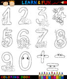 Numbers with cartoon animals for coloring. Cartoon Coloring Book or Page Illustration of Numbers Signs from Zero to Nine with Animals Characters for Children Stock Images