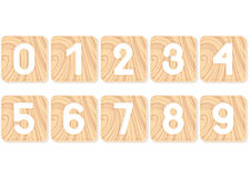 Numbers carved into wooden squares. Design Vector Illustration