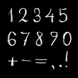 Numbers on chalkboard. Figures white on black background, graphic, written in chalk on the blackboard. Template for a designer to use in their work stock illustration